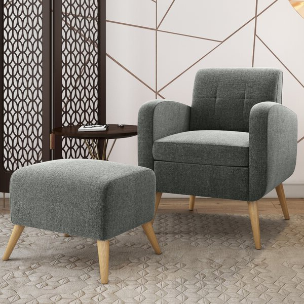 """Most Current Hallsville Performance Velvet Armchairs And Ottoman Pertaining To Joetta 20"""" Armchair And Ottoman (View 15 of 30)"""