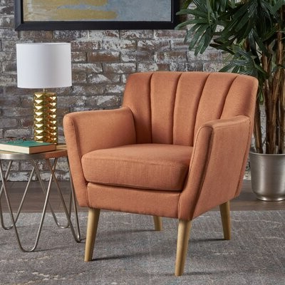 """Most Current Jaron 20"""" Armchair Upholstery Color: Orange Within Belz Tufted Polyester Armchairs (View 26 of 30)"""