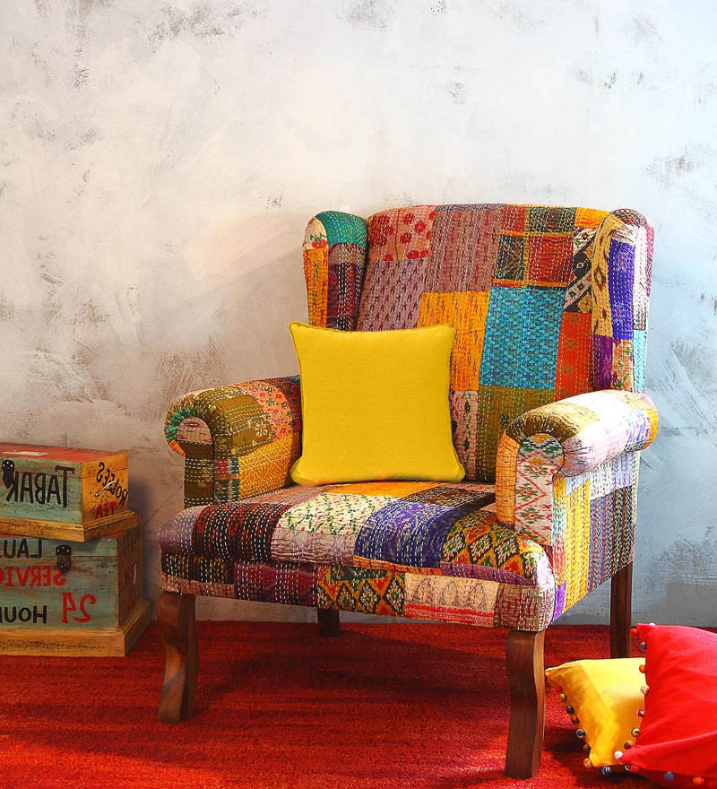 Most Current Lau Barrel Chairs Regarding Jermaine Accent Chair With Silk Patchwork In Sheesham Wood (View 28 of 30)