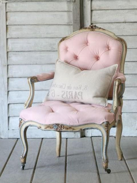 Most Current Leppert Armchairs With Pretty Pink Arm Chair With Pillow; Elegant Cottage Style (View 13 of 30)