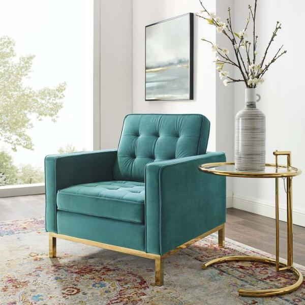 Most Current Modway Loft Gold Teal Stainless Steel Performance Velvet Intended For Live It Cozy Armchairs (View 12 of 30)