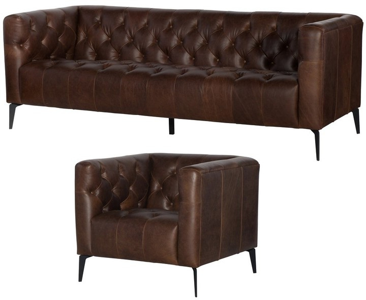 Most Current Sheldon Tufted Top Grain Leather Club Chairs Intended For Overstock Wildon Distressed Brown Tufted Leather Chesterfield Sofa And Chair (View 27 of 30)