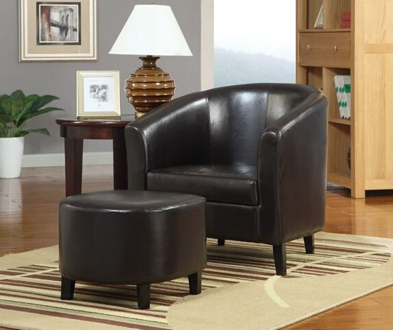 Most Popular 900240 2 Pc Winston Porter Hysell Brown Faux Leather Barrel In Faux Leather Barrel Chair And Ottoman Sets (View 21 of 30)