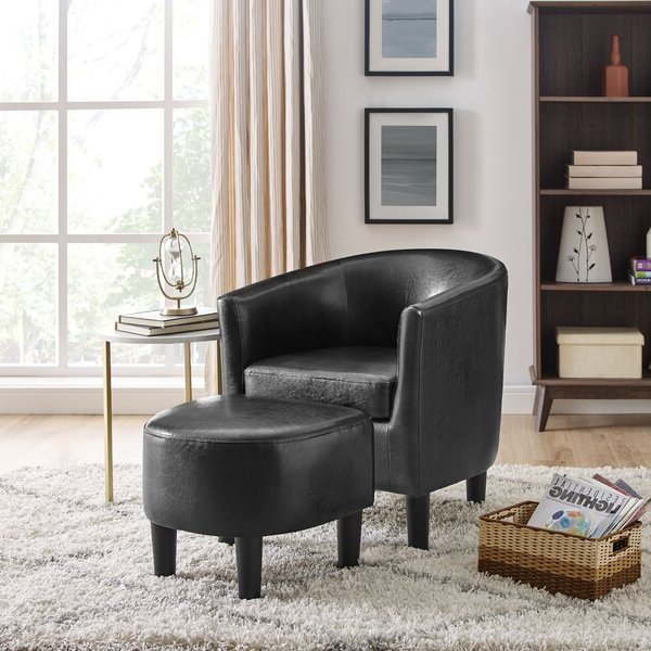 Most Popular Annegret Faux Leather Barrel Chair And Ottoman Sets In Leather Egg Chair With Ottoman (View 3 of 30)