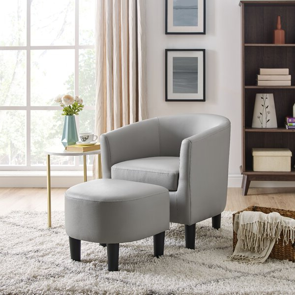 Featured Photo of Annegret Faux Leather Barrel Chair And Ottoman Sets