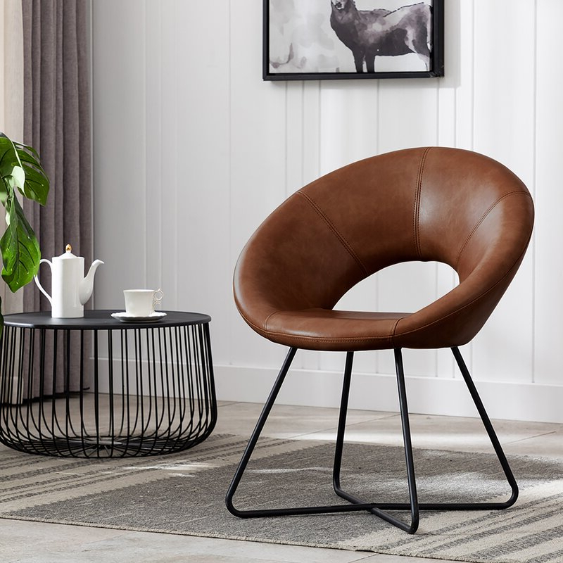 Featured Photo of Coomer Faux Leather Barrel Chairs