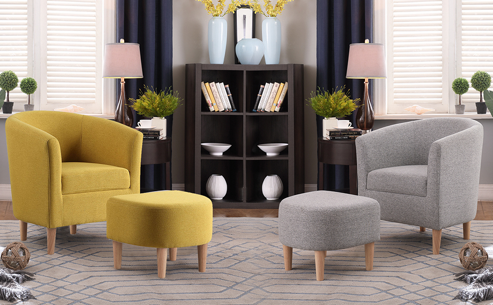 Most Popular Dazone Modern Accent Chair, Upholstered Arm Chair Linen Fabric Single Sofa Chair With Ottoman Foot Rest Mustard Yellow Comfy Armchair For Living Room Pertaining To Danny Barrel Chairs (set Of 2) (View 27 of 30)