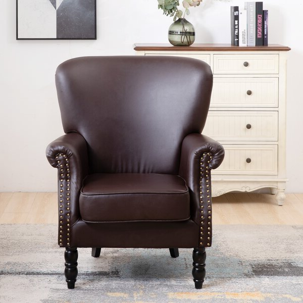 Most Popular Gilad Faux Leather Barrel Chairs With Regard To Bonded Leather Chair (View 27 of 30)