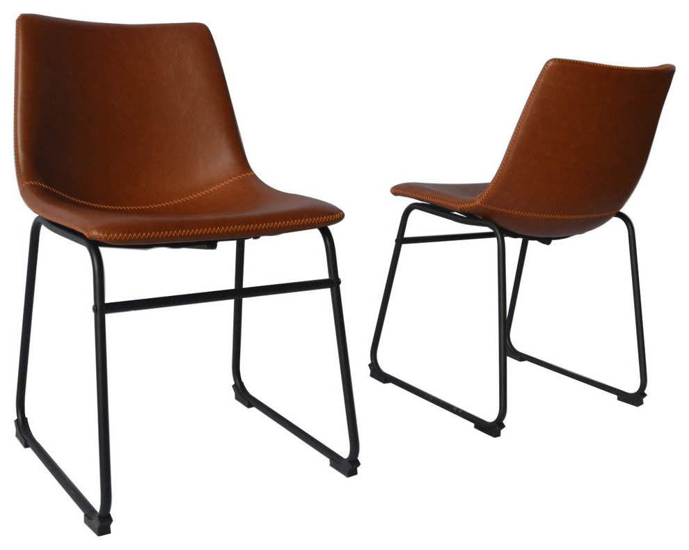 Most Popular Jill Faux Leather Armchairs In Modern Faux Leather Dining Chair, Set Of 2, Bronze (View 10 of 30)