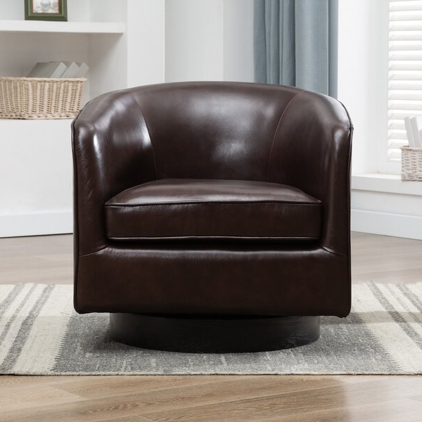 Most Popular Leather Swivel Chairs Inside Hazley Faux Leather Swivel Barrel Chairs (View 26 of 30)