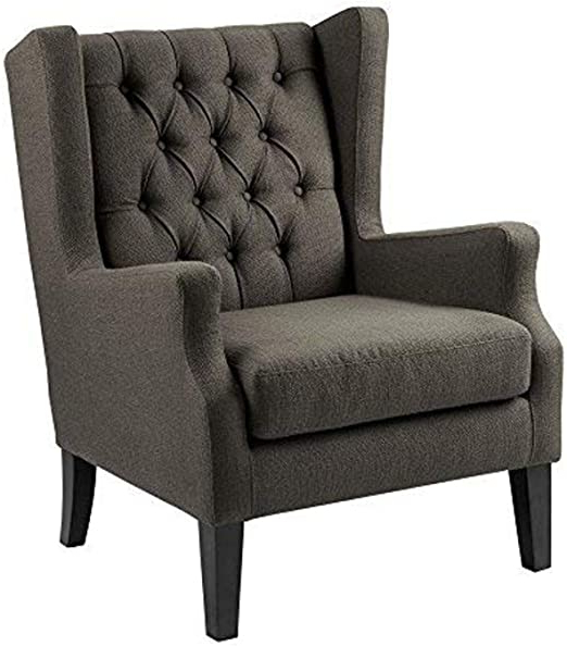 Most Popular Madison Park Maxwell Accent Chairs Hardwood, Faux Linen Deep Seat Bedroom Lounge Modern Classic Elegant Button Tufted High Back Style Living Room Sofa Inside Dallin Arm Chairs (View 21 of 30)