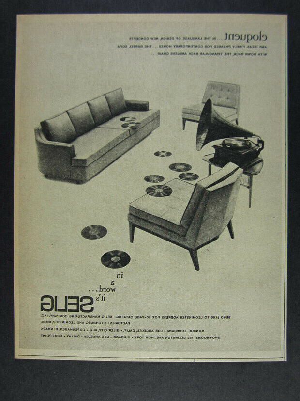 Most Popular Ronda Barrel Chairs Within 1962 Selig Barrel Sofa & Triangular Back Armless Chair Vintage Print Ad (View 7 of 30)