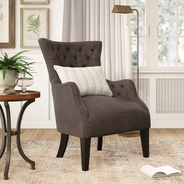 Most Popular Solomon Wingback Chair Pertaining To Galesville Tufted Polyester Wingback Chairs (View 9 of 30)