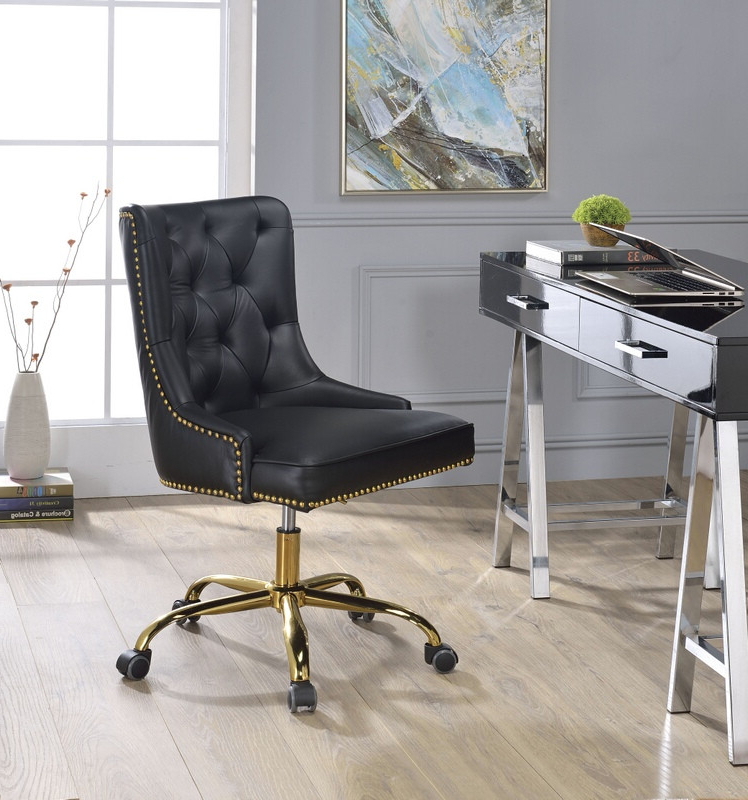 Most Recent Acme 92518 Purlie Black Faux Leather Nail Head Trim Office Chair With Casters With Regard To Jill Faux Leather Armchairs (View 25 of 30)