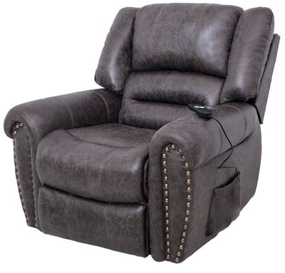 Most Recent Burdeshaw Faux Leather Power Lift Assist Recliner Within Ansar Faux Leather Barrel Chairs (View 16 of 30)