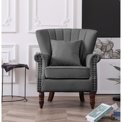 Most Recent Cilegon Wingback Chair Fabric: Gray Throughout Saige Wingback Chairs (View 21 of 30)
