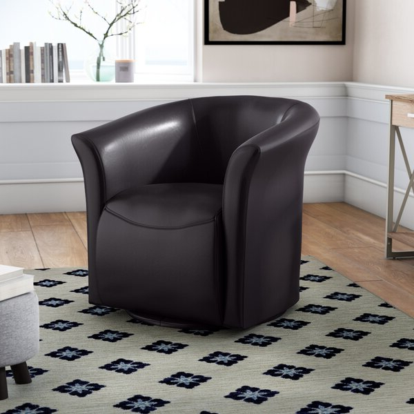 Most Recent Elisha Swivel Barrel Chair In Hazley Faux Leather Swivel Barrel Chairs (View 30 of 30)