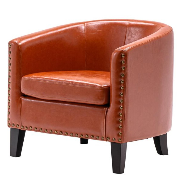 Most Recent Gilad Faux Leather Barrel Chairs Inside Burnt Orange Leather Chair (View 2 of 30)