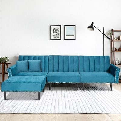 """Most Recent Hallsville Performance Velvet Armchairs And Ottoman Throughout Tora 118"""" Wide Velvet Reversible Reclining Sofa & Chaise With Ottoman Fabric: Blue (View 29 of 30)"""