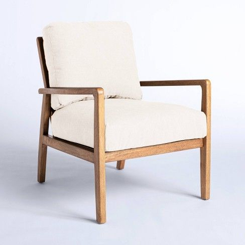 Most Recent Lakeville Armchairs Within Mixed Material Accent Chair Cream – Threshold™ Designed With (View 15 of 30)