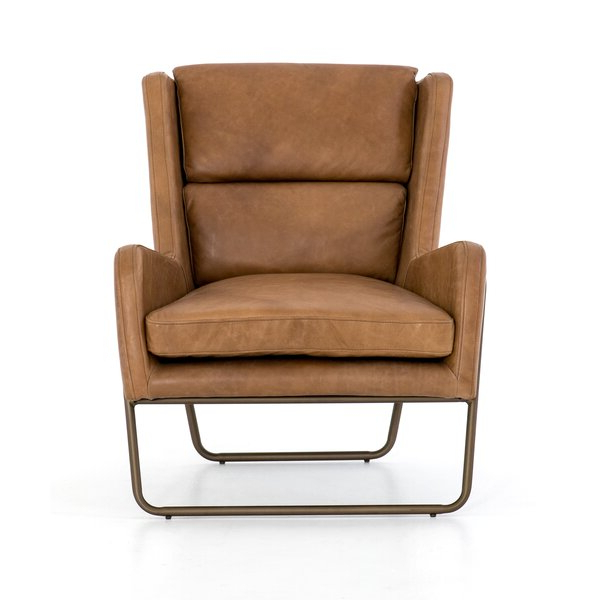 Most Recent Modern & Contemporary Leather Wingback Chairs Intended For Broadus Genuine Leather Suede Side Chairs (View 18 of 30)