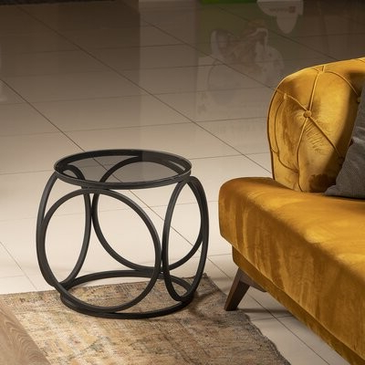 Most Recent Montauk Glass Top Frame End Table Table Base Color: Black Throughout Lucea Faux Leather Barrel Chairs And Ottoman (View 17 of 30)