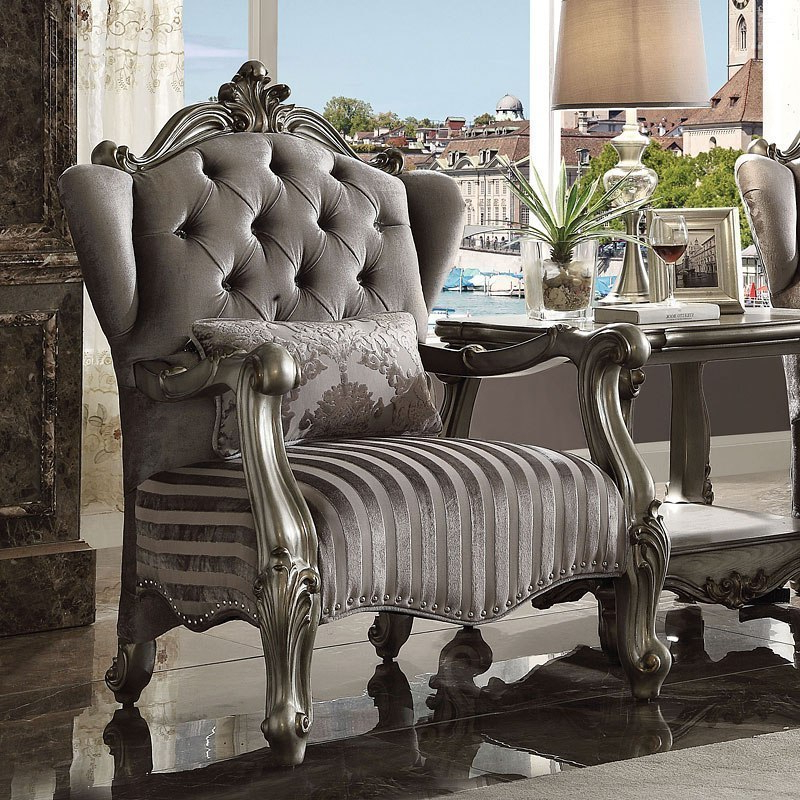 Most Recent Nadene Armchairs Within Versailles Living Room Set (antique Platinum) (View 25 of 30)