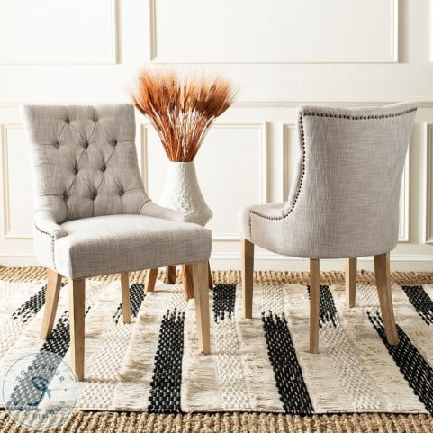 """Most Recently Released Abby Gray 19"""" Tufted Side Chair Set Of 2 With Regard To Madison Avenue Tufted Cotton Upholstered Dining Chairs (set Of 2) (View 11 of 30)"""