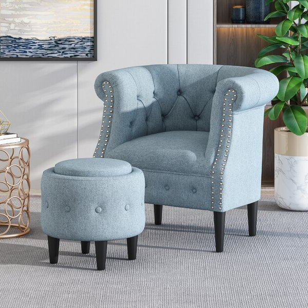 Most Recently Released Alwillie Tufted Back Barrel Chairs With Regard To Blue Studded Chair (View 13 of 30)
