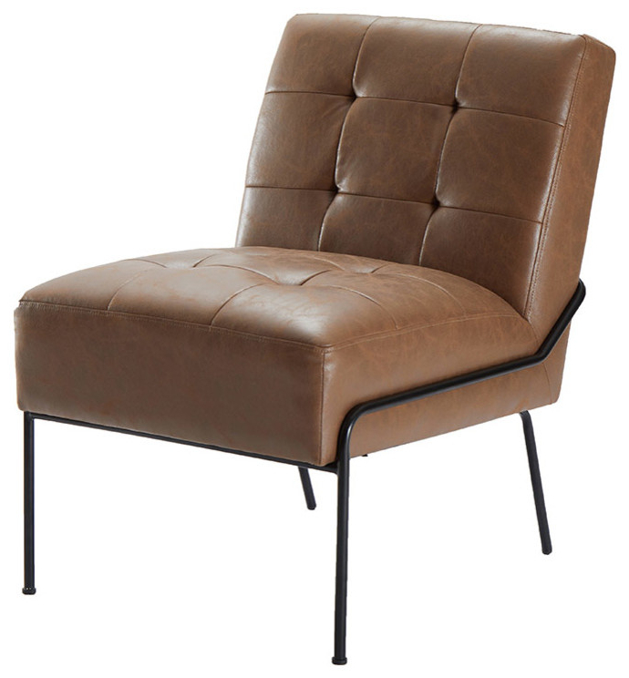 Most Recently Released Armless Accent Chair, Brown Faux Leather Within Armless Upholstered Slipper Chairs (View 21 of 30)