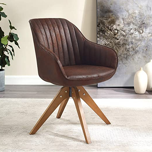 Most Recently Released Art Leon Mid Century Modern Swivel Accent Chair Brown With Pertaining To Brister Swivel Side Chairs (View 8 of 30)