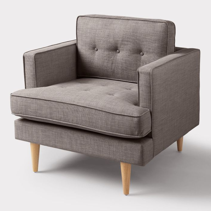 Most Recently Released Bernardston Armchairs Pertaining To Dolphin Gray Woven Apel Armchair – Fabricworld Market (View 2 of 30)