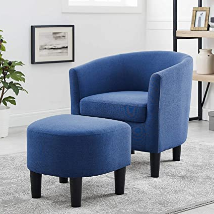Most Recently Released Danny Barrel Chairs (set Of 2) For Dazone Modern Accent Chair Upholstered Arm Chair Linen (View 6 of 30)