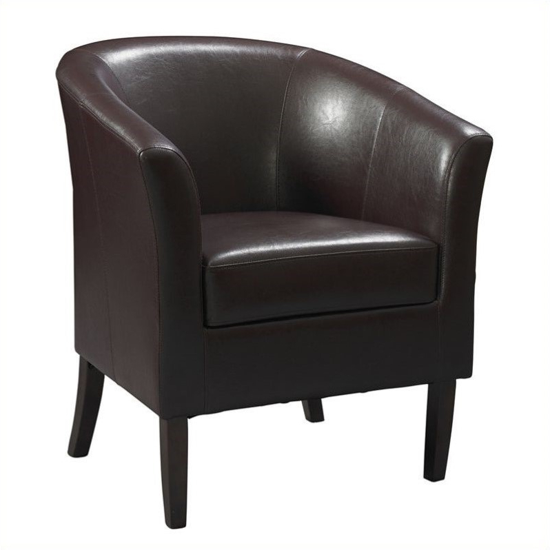 Most Recently Released Faux Leather Barrel Chairs Inside Riverbay Furniture Faux Leather Club Barrel Chair In Blackberry – Walmart (View 4 of 30)