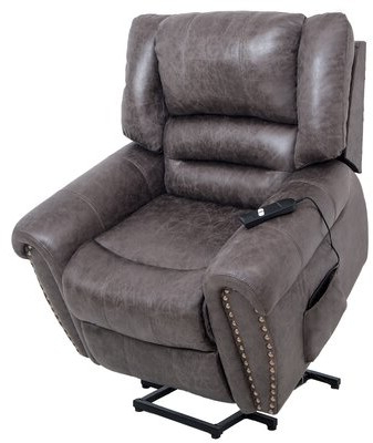 Most Recently Released Gilad Faux Leather Barrel Chairs Throughout Eichi Faux Leather Power Lift Assist Recliner (View 9 of 30)