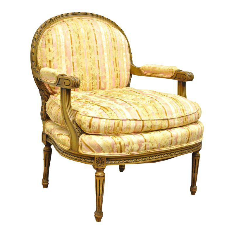 Most Recently Released Harmoni Armchairs Intended For Vintage French Louis Xvi Style Carved Walnut Bergere Boudoir (View 9 of 30)
