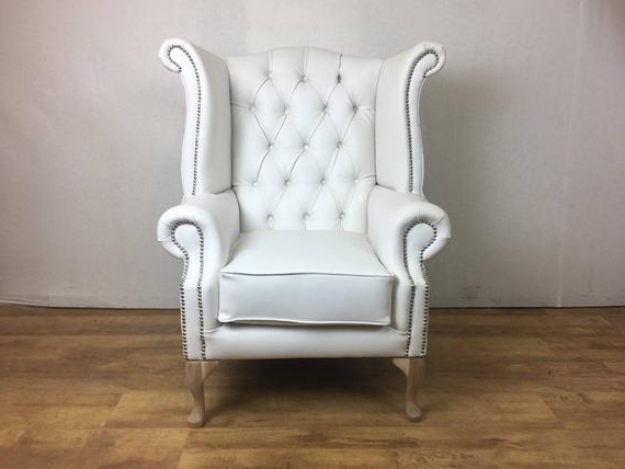 Most Recently Released Montenegro Faux Leather Club Chairs Intended For White Faux Leather Queen Anne Wing Chair (View 19 of 30)