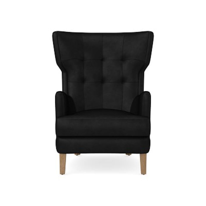 Most Recently Released Noe Valley Wing Chair, Tuscan Leather, Black, Truffle Leg – Williams Sonoma With Gallin Wingback Chairs (View 3 of 30)