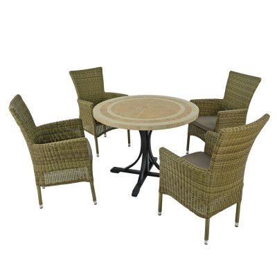 Most Up To Date 4 Chair Garden Patio Sets, Outdoor Furniture – 5* Customer Inside Dorcaster Barrel Chairs (View 23 of 30)