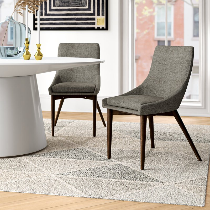 Most Up To Date Aaliyah Parsons Chairs With Aaliyah Cotton Upholstered Side Chair In Gray (View 5 of 30)