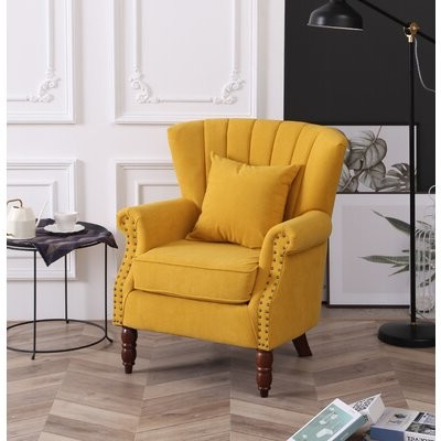 Most Up To Date Chagnon Wingback Chairs Inside Cilegon Wingback Chair Fabric: Yellow (View 30 of 30)