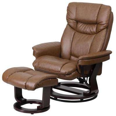 Most Up To Date Lucea Faux Leather Barrel Chairs And Ottoman For Brown – Accent Chairs – Chairs – The Home Depot (View 15 of 30)
