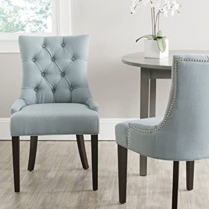 Most Up To Date Safavieh Mercer Collection Heather Beige Linen Nailhead Dining Chair Throughout Madison Avenue Tufted Cotton Upholstered Dining Chairs (set Of 2) (View 9 of 30)