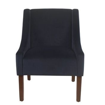 Myia Armchairs Pertaining To 2020 Linen Look Charcoal Gray Classic Swoop Arm Accent Chair (View 11 of 30)