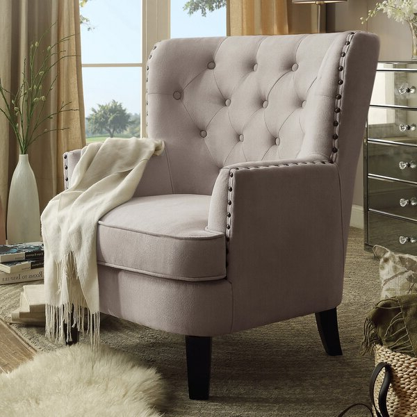 Nailhead Trim Tufted Chair Intended For Newest Suki Armchairs By Canora Grey (View 18 of 30)