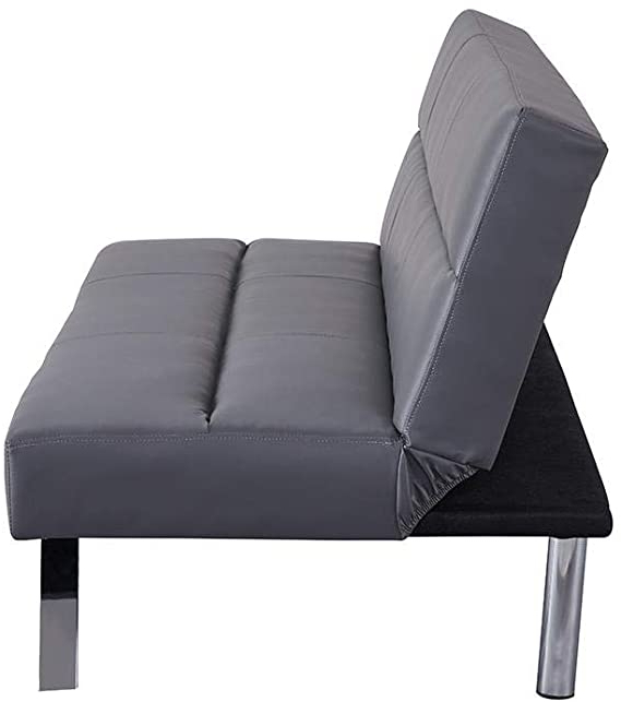 Naomi Home Zoe Futon Sofa Gray Regarding 2019 Perz Tufted Faux Leather Convertible Chairs (View 21 of 30)