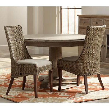 New Wicker Greco Wicker And Mahogany Dining Chair Set Of 2 In Widely Used Bernardston Armchairs (View 23 of 30)