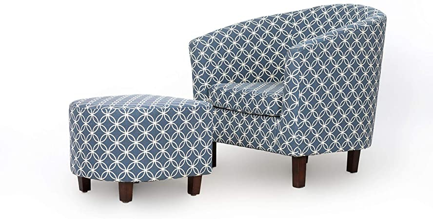 Newest Amazon: Brames Barrel Chair And Ottoman: Home & Kitchen Within Brames Barrel Chair And Ottoman Sets (View 2 of 30)