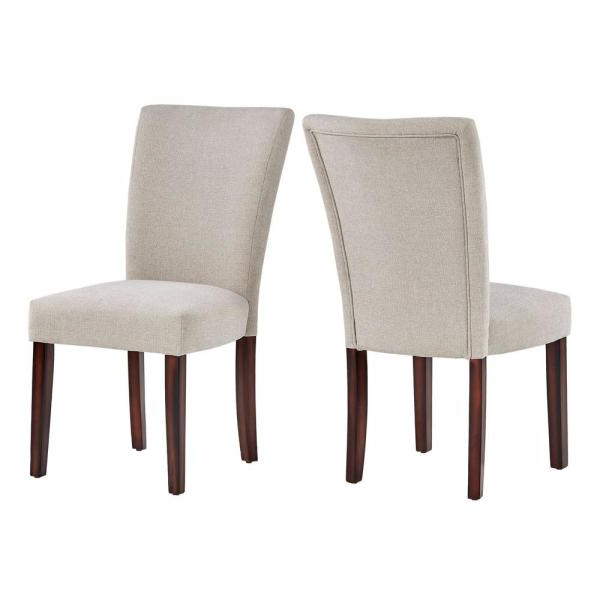 Newest Espresso Beige Heathered Weave Parson Chair (set Of 2) With Aime Upholstered Parsons Chairs In Beige (View 2 of 30)