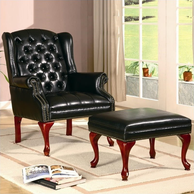 Newest Faux Leather Barrel Chair And Ottoman Sets Pertaining To Coaster Wing Back Tufted Faux Leather Arm Chair And Ottoman In Black (View 27 of 30)